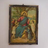 Reproduction lithographie art religieux Christ icône fait main vintage PN France