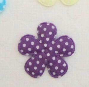 "50 Polka Dot Cotton Print Fabric Flower 1.5"" Applique/Trim/Sewing H33-Pick Color"