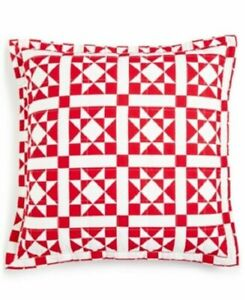 """Calvin Klein Abigail 22"""" X 22"""" Geometric Quilted Cotton Decorative Pillow - RED"""