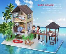 Wood Doll house Miniature DIY Kit w/ Light -Dollhouse&All Furniture/English