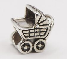 Sterling Silver Reflections Bead QRS211 3D Baby Carriage Stroller Buggy