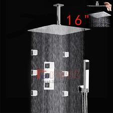 Thermostatic Mixing Mixer Valve 16'' Rainfall Shower Head Massage Jets Spray Set