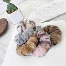 Faux Rabbit Fur Leopard Fluffy Elastic Scrunchie Hair Rope Ring Ponytail  Holder cd4a12694fc