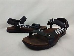Merrell Around Town Sunvue Ankle Strap Woven Black Sandals Womens Sz 8 MSRP $80