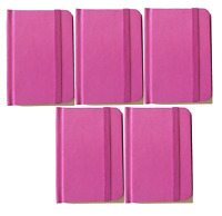 Hardcover Pink Notebook Journal 96 Pages Small 4 x 3 Ruled Pocket Size 5 Pack