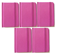 """5-pack Small Pink Hardcover Pocket Notebook Journal 96 Pages 4 x 3"""" Ruled"""