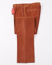 NWT $525 ISAIA NAPOLI Rust Orange Corduroy Pants Chinos Slim 30 (Eu 46)