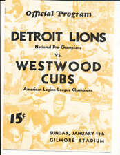 1936 1/12 Detroit Lions NFL Champions vs Westwood Cubs football program boxnfl
