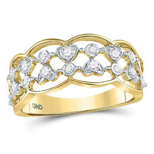 14k Yellow Gold Round Diamond Double Two Row Heart Dot Band Ring Open Right Hand