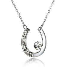 Women's Girl Bridal Horse Shoe Pendant Necklace Elements Crystal Fashion Jewelry