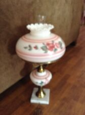 Beautiful vintage marble base pink floral GWTW table lamp