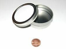 2 oz Round Metal Blank White Label Slip-Lid Tin Can Container - Use With Crafts