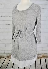 Motherhood Maternity Tunic Top Dress Tie Front Long Sleeve Size S Gray Sweater