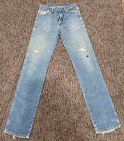 Destroyed Vintage Wrangler Denim Jeans Faded Paint Distressed Workwear 33 x 40