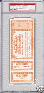 1934 NCAA Track & Field Championships full press proof ticket PSA graded 6 ExMt