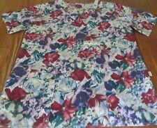 Nurses Uniform Scrubs V-Top S M GALS of Calif multi color Floral deep pockets