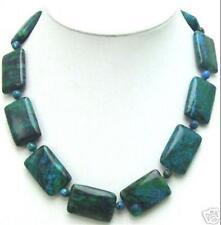 "Charming!! 13x18mm Azurite Gemstone Phoenix Stone Rectangle Beads Necklace 18"""