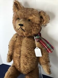 """20"""" Vintage Antique English? Teddy Bear Velvet Pads Mohair 1930's Jointed #U"""