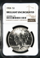 1924 Peace Silver Dollar - Brilliant Uncirculated BU Unc - NGC Graded *