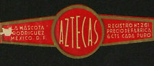 111V-MEXICO Vitola Antigua-Old Cigar Band-Marca LA MASCOTA, AZTECAS, RODRIGUEZ M