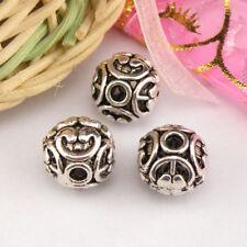 4Pcs Tibetan Silver,Gold,Bronze Hollow Filigree Round Spacer Beads M1359