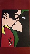 BATMAN E ROBIN Gay BACIO foto su tela dipinti a mano 30x40cm