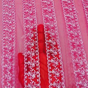 Women's Net Dupatta Vintage Pink Long Stole Embroidered Ethnic Chunni EMBDP5727