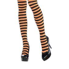 Ladies Orange Black Striped Tights Witch Halloween Hosiery Costume Accessory