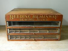 Antique Belding Hemingway Sewing Silks 3 drawer Spool Thread Cabinet Oak glass