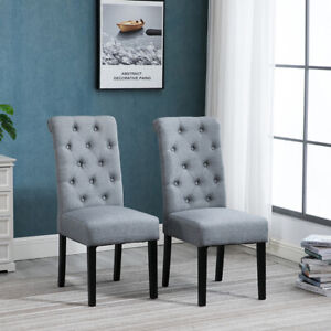 2x Grey Button Tufted High Back Dining Chairs Fabric Upholstered Room Kitchen