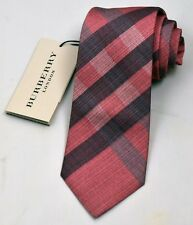 NEW Burberry CORAL PINK Plaid Mans Silk Tie 100% Authentic Italy Made 032505