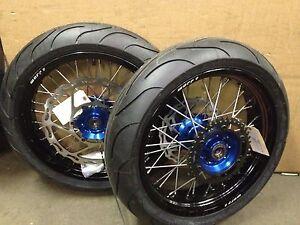 """Warp 9 17"""" Supermoto Wheels with Michelin Tires Suzuki DRZ400SM"""