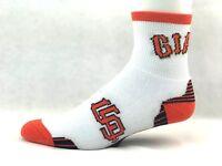 MLB San Francisco Giants White Quarter Socks with Black & Orange Striped Bottom