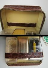 Vintage Shaving Travel Set Kit Vanity Leather Case Czechoslovakia Pragoexport