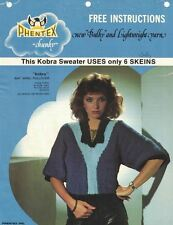 Phentex Chunky KOBRA SWEATER Pattern to Knit Uses 6 Skeins Art. 20-01