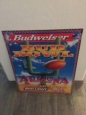 Bud Bowl Beer Sign Tin Metal Large Vintage 1996 Bud Light Budweiser Embossed