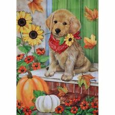 GOLDEN DAYS DOG LG PORCH FLAG 28 X 40 SEASONAL 10-2801-136 FALL RAIN