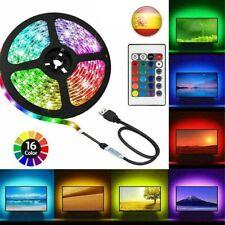 Tira de luces LED RGB luz adhesiva Strip USB Decoración 5M TV Mando Multicolores