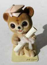 Teddy Bear Figurine Graduation Josef Originals George Good Flocked Furry Japan