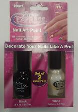 Salon Express Nail Art Paint - 2 Colors - Black & White