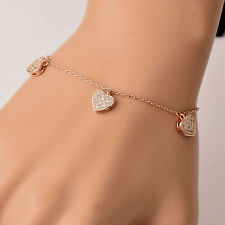 Romantic Tiny Crystal Heart Pendants Charm Bracelets Chain Wedding Party Jewelry
