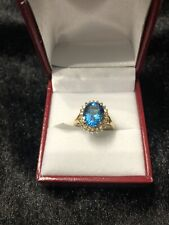 14kt Gold Blue Topaz With Diamond Ring, Size 6.75