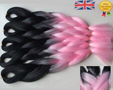 "5 Packs Black & Pink 24"" Ombre Dip Dye Kanekalon Jumbo Braids Hair Extensions UK"