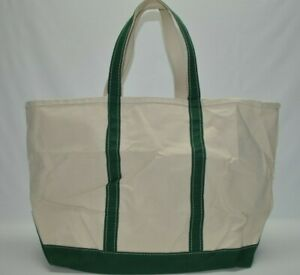LL Bean Large Boat And Tote Canvas Double Handles Bag White/Green