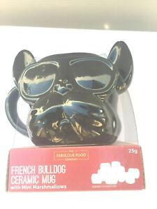CUP MUG & marshmallows FRENCHIE  BLACK French Bulldog WEARING SUNNIES NEW animal
