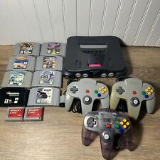 Nintendo 64 N64 Console Bundle w/3 Controllers 8 N64 Games-TESTED