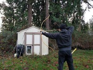 """Osage Recurve RH 62"""" 45lbs@27or47.5lb@28"""" deer antler tip overlays"""