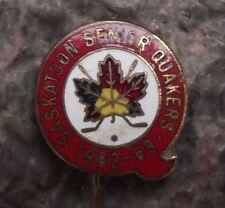 1963 Saskatoon Senior Quakers Ice Hockey Team Maple Leaf Sticks Enamel Pin Badge