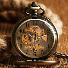 Mens Womens Retro Luxury Automatic Mechanical Bronze Smooth Case Pocket Watch