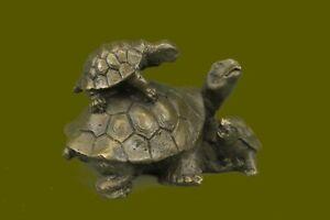 3 Cute Turtles Signed Milo Original Limited Vienna Bronze Sculpture Figurine NR